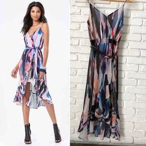 Bebe print ruffle hi-lo dress sz S